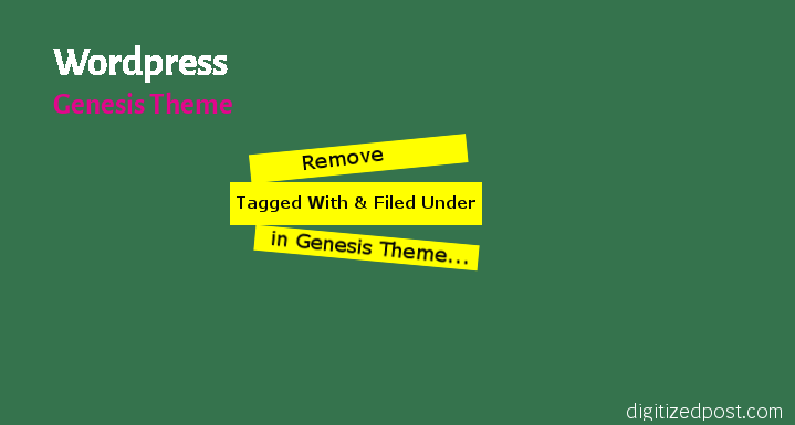 Wordpress Genesis Simple Edits Remove Filed Under and Tagged With