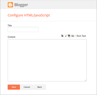Blogger Configure HTML Javascript