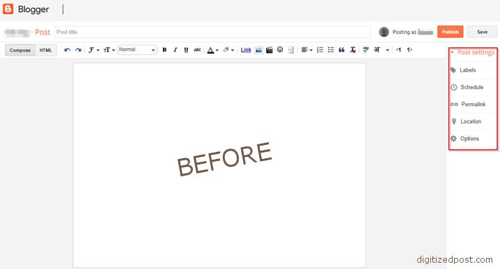 Blogger Create post default settings