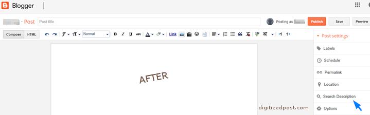 Blogger Create Post With Search Description