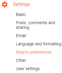 Blogger Settings Search Preferences