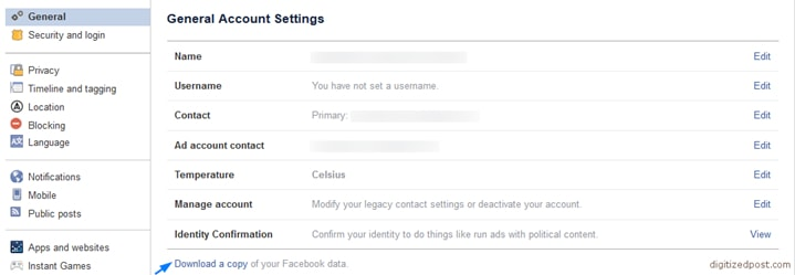 Download Copy of Facebook Data
