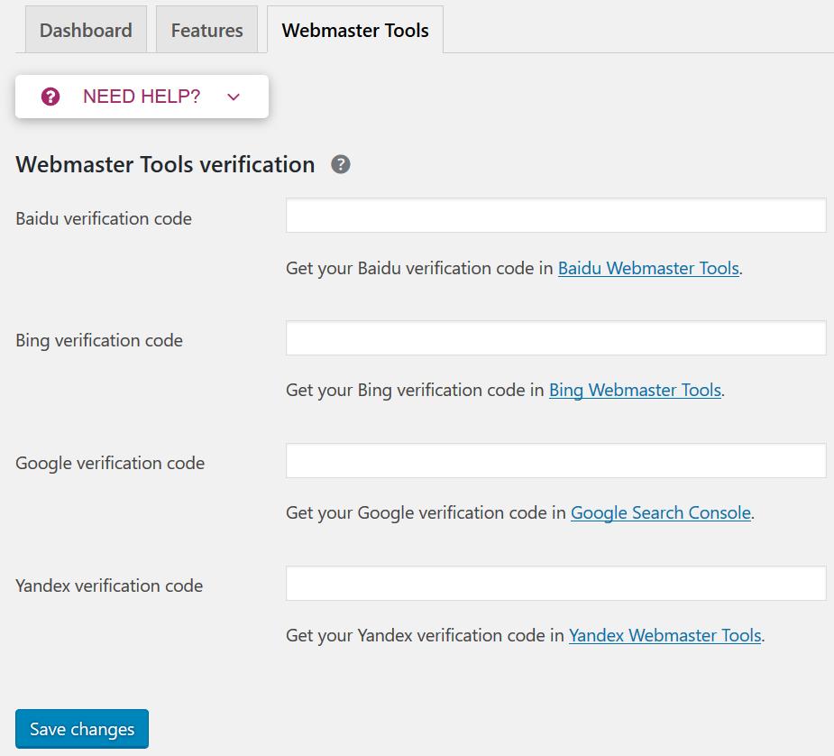 Wordpress yoast seo webmaster tools google verficatio